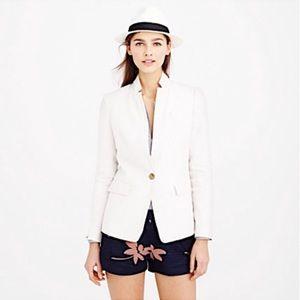 J. Crew White Linen One Button Regent Blazer 10